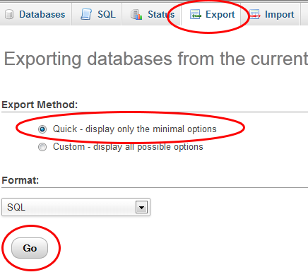 export database