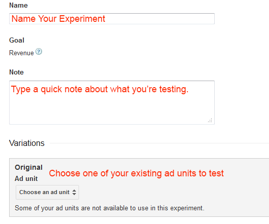 AdSense Experiment Details