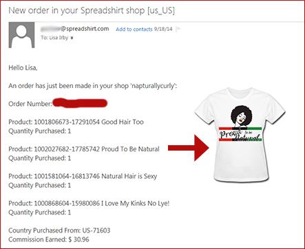 Sample Spreadshirt Earnings