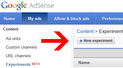 Adsense Experiment Screenshot
