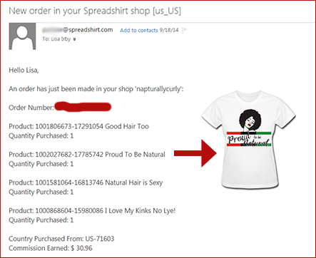 Sample Spreadshirt Earnings