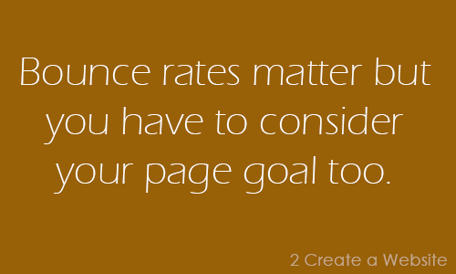 Bounce rates matter but you can't forget your page goals.