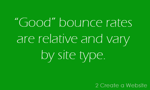 Good bounce rates are relative and vary by site type.